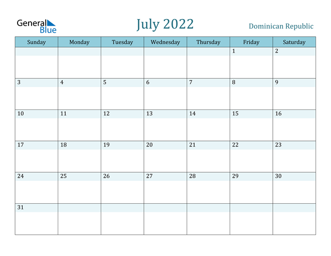 Image of July 2022 Colorful Turquoise Calendar in PDF, Word and Excel Calendar