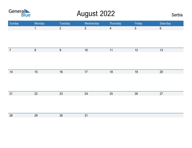 Fillable August 2022 Calendar