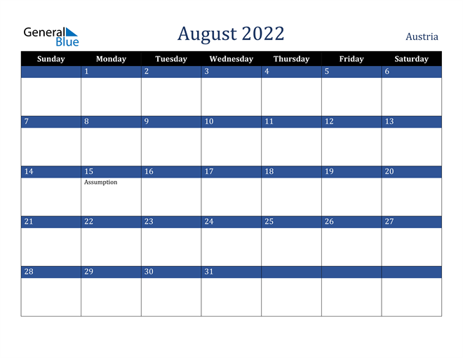 August 2022 Austria Calendar