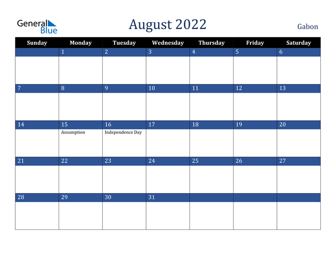 Image of August 2022 Stylish Dark Blue Calendar in PDF, Word and Excel Calendar