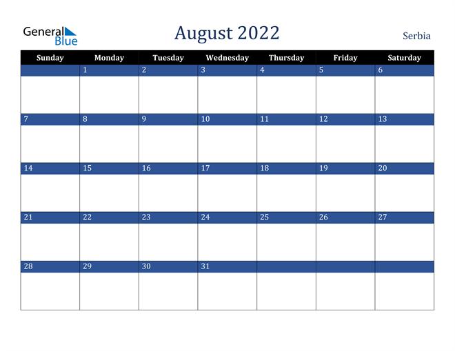 August 2022 Serbia Calendar