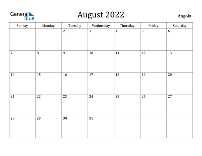 Image of August 2022 Angola Calendar with Holidays Calendar