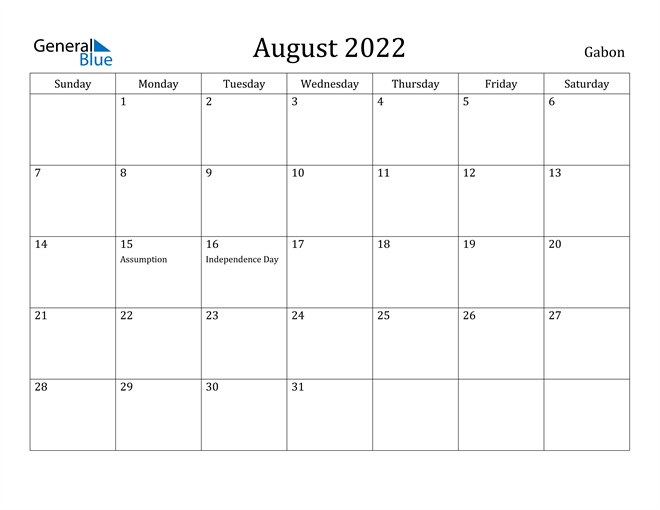 Image of August 2022 Gabon Calendar with Holidays Calendar