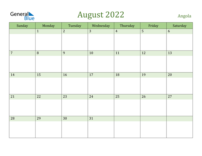 Image of August 2022 Cool and Relaxing Green Calendar Calendar