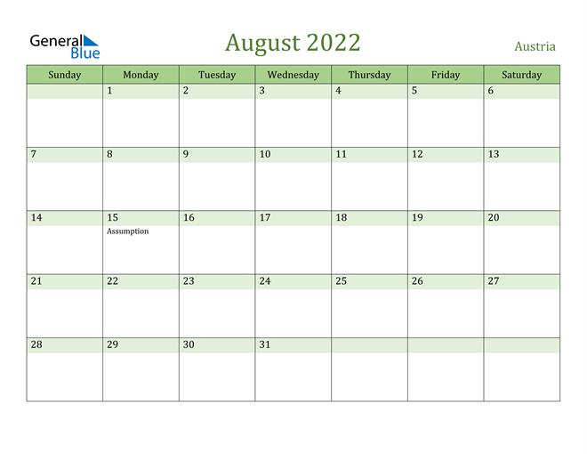 August 2022 Calendar with Austria Holidays