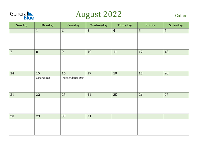 Image of August 2022 Cool and Relaxing Green Calendar Calendar