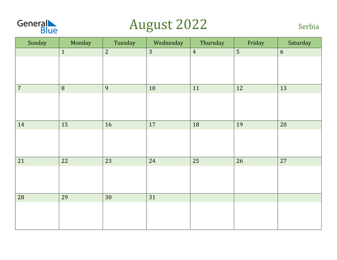 August 2022 Calendar with Serbia Holidays