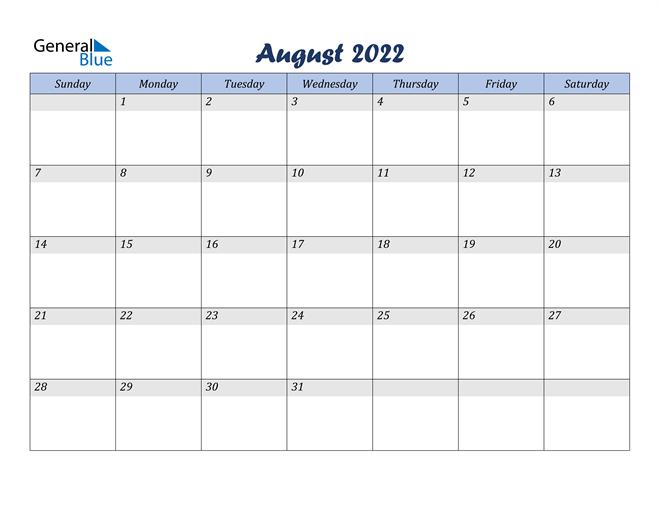 Blank Calendar August 2022 Printable.August 2022 Calendar Pdf Word Excel