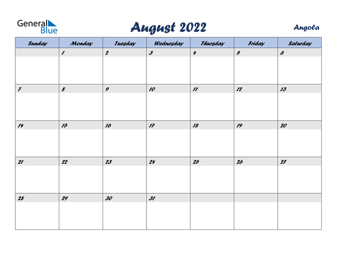 Image of August 2022 Italicized and Cool Blue, A Fun Calendar in PDF, Word and Excel Calendar