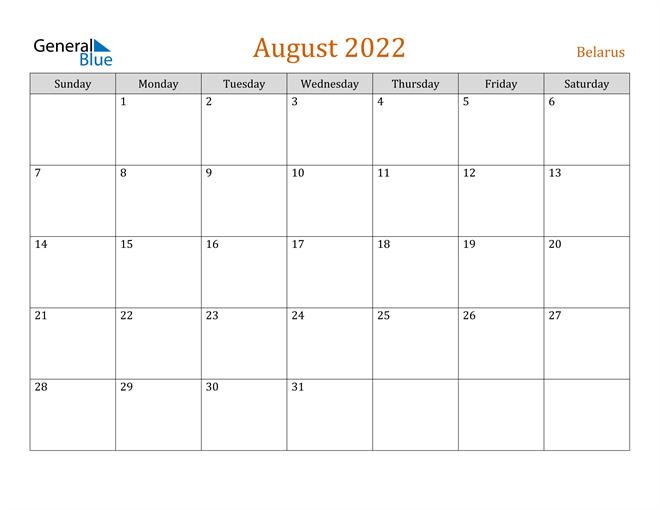Image of August 2022 Contemporary Orange PDF, Word and Excel Calendar Calendar