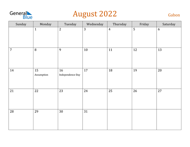 Image of August 2022 Contemporary Orange PDF, Word and Excel Calendar Calendar