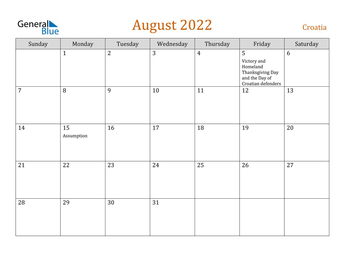 August 2022 Calendar - Croatia