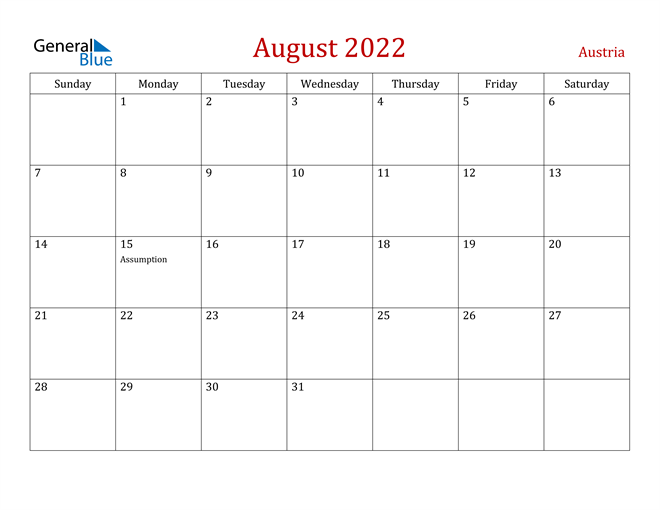 Austria August 2022 Calendar