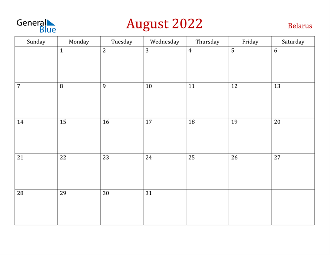 Image of August 2022 Dark and Red Professional Office Calendar Calendar
