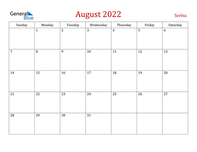 Serbia August 2022 Calendar