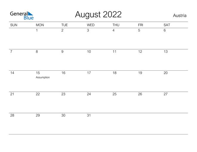 Printable August 2022 Calendar for Austria
