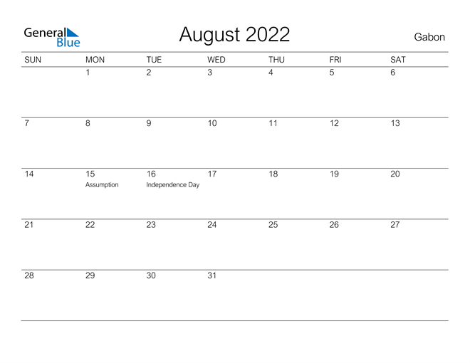 Image of August 2022 A Streamlined Design, The Perfect Printable Calendar. Calendar