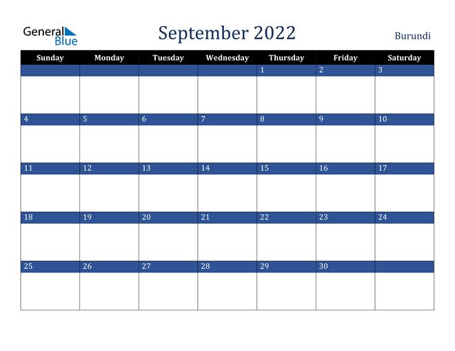 September 2022 Burundi Calendar