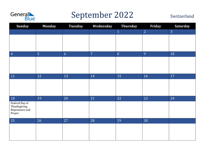 Image of September 2022 Stylish Dark Blue Calendar in PDF, Word and Excel Calendar