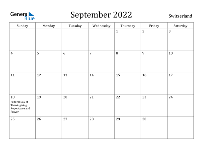 Image of September 2022 Switzerland Calendar with Holidays Calendar
