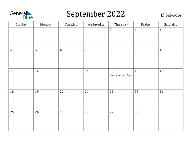 Image of September 2022 El Salvador Calendar with Holidays Calendar