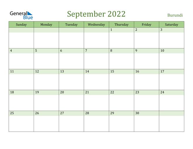 September 2022 Calendar with Burundi Holidays