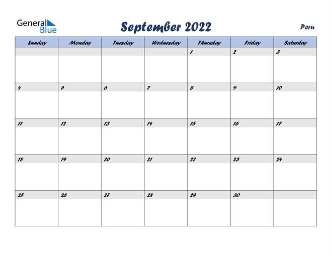 Image of September 2022 Italicized and Cool Blue, A Fun Calendar in PDF, Word and Excel Calendar