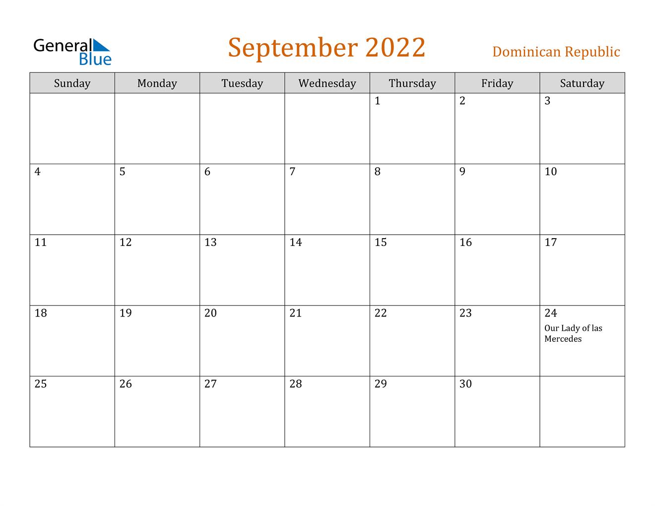 September 2022 Calendar - Dominican Republic
