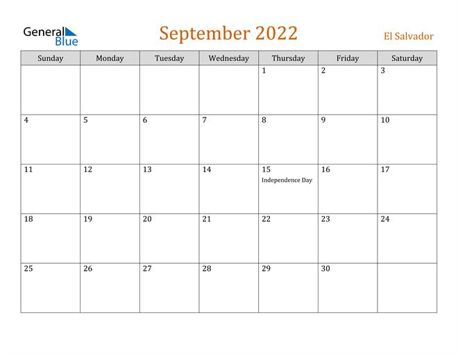 Image of September 2022 Contemporary Orange PDF, Word and Excel Calendar Calendar