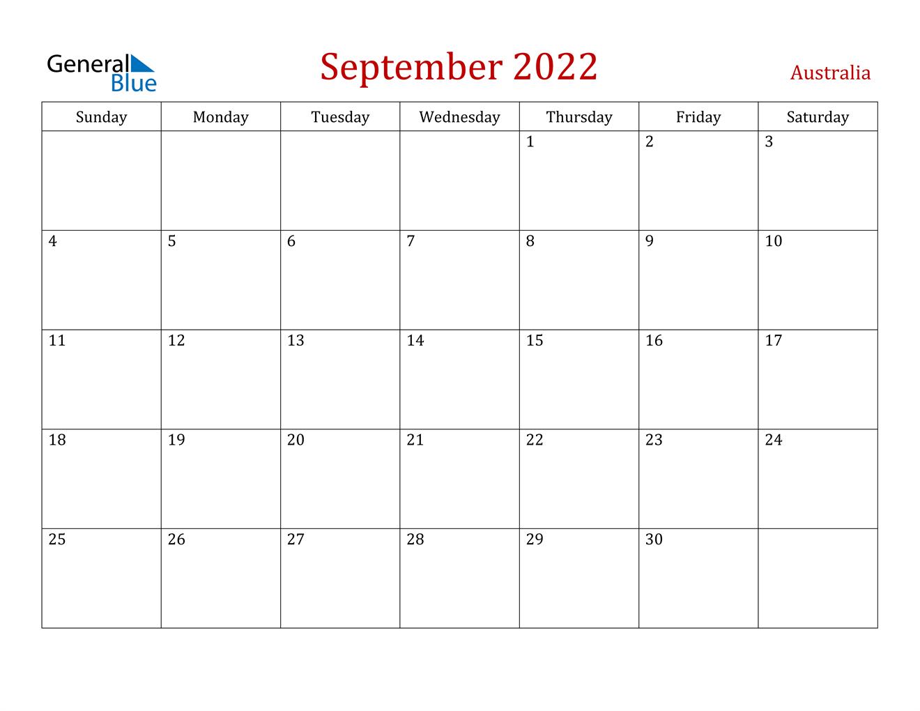 September 2022 Calendar - Australia