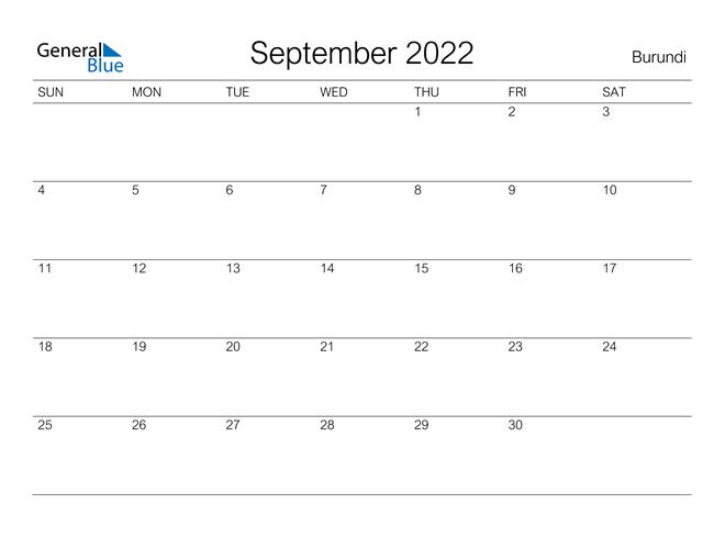 Printable September 2022 Calendar for Burundi