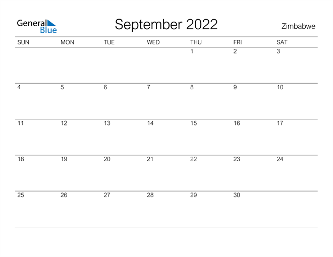 Image of September 2022 A Streamlined Design, The Perfect Printable Calendar. Calendar
