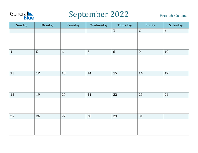 Image of September 2022 Colorful Turquoise Calendar in PDF, Word and Excel Calendar