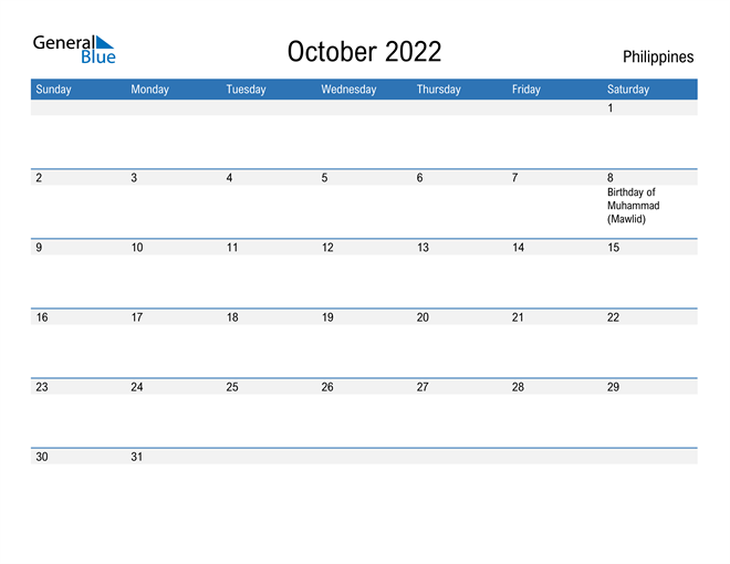 Fillable October 2022 Calendar