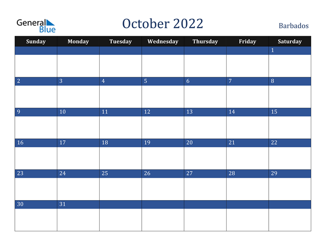 Image of October 2022 Stylish Dark Blue Calendar in PDF, Word and Excel Calendar