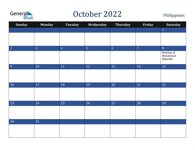 October 2022 Philippines Calendar
