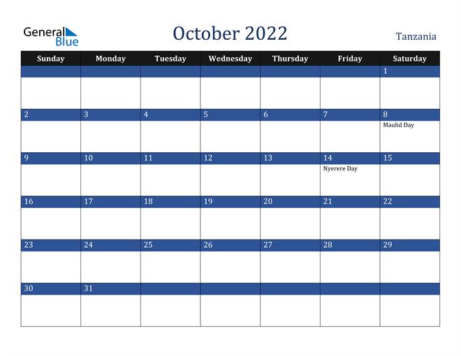 Image of October 2022 Stylish Dark Blue Calendar in PDF, Word and Excel Calendar