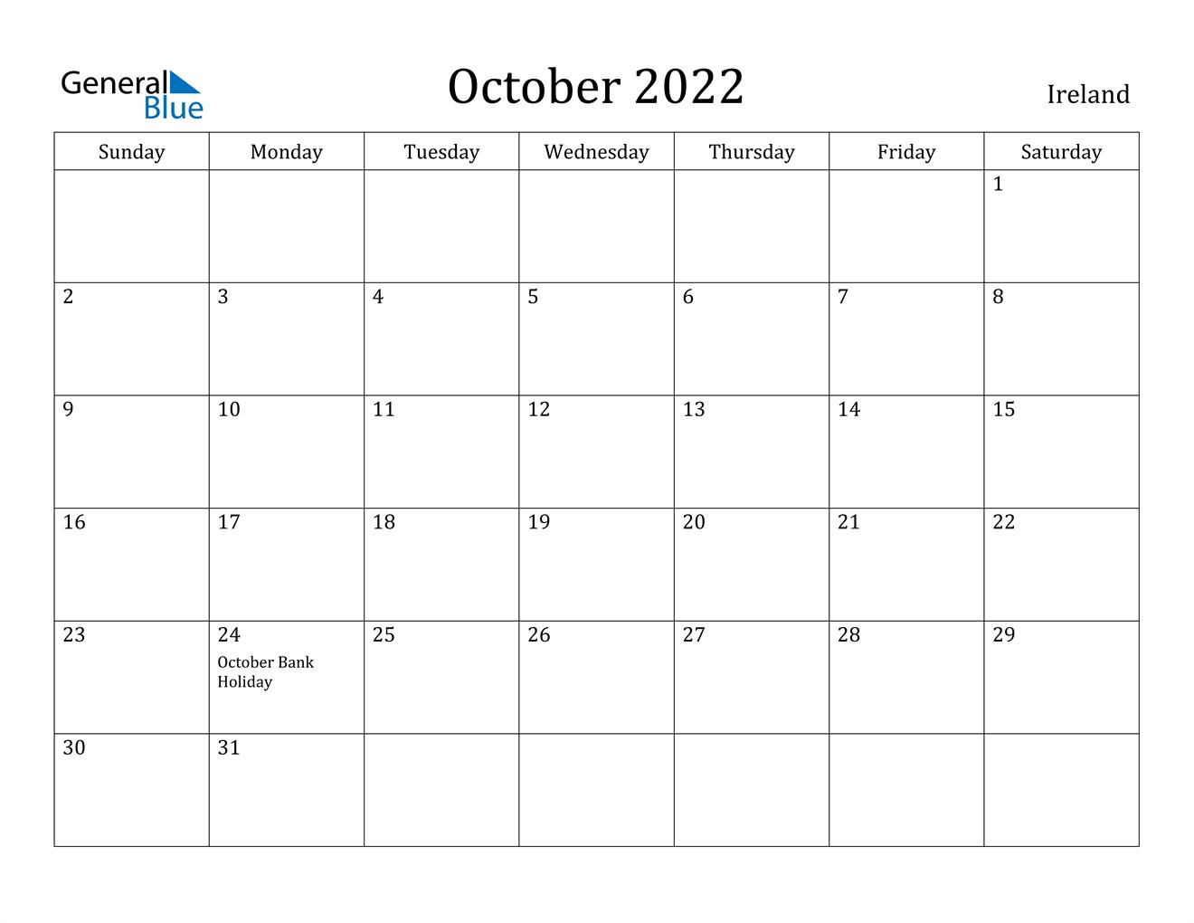 October 2022 Calendar With Holidays.Ireland October 2022 Calendar With Holidays