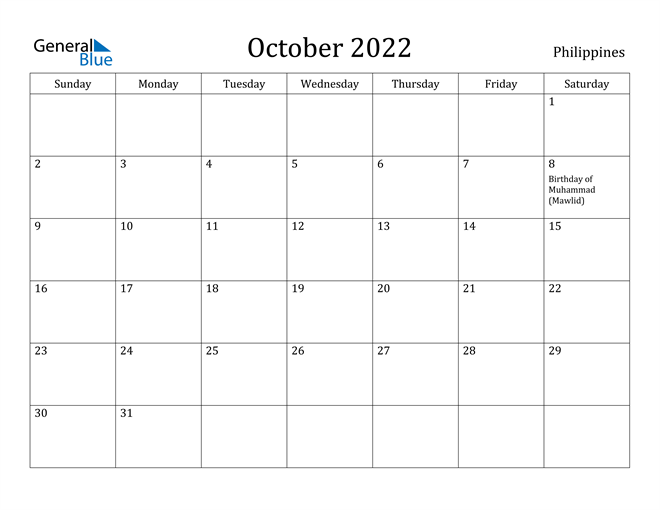 October 2022 Calendar Philippines
