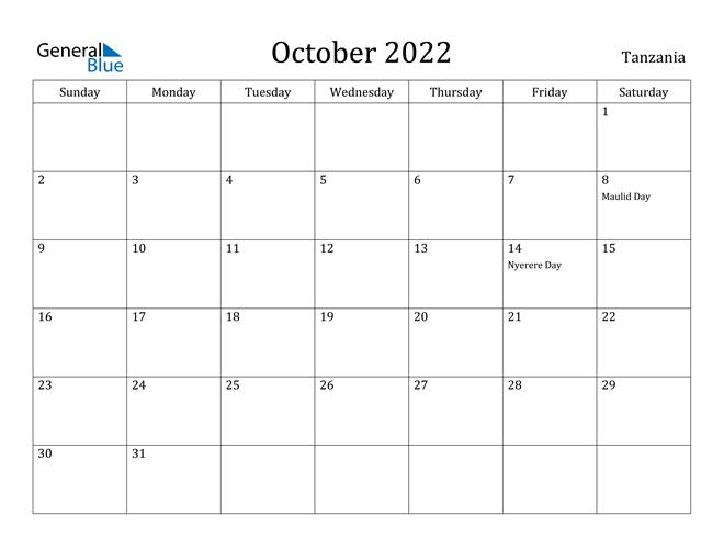 Image of October 2022 Tanzania Calendar with Holidays Calendar