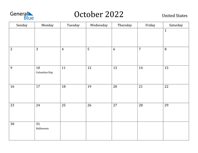 Oct 2022 Calendar With Holidays.United States October 2022 Calendar With Holidays