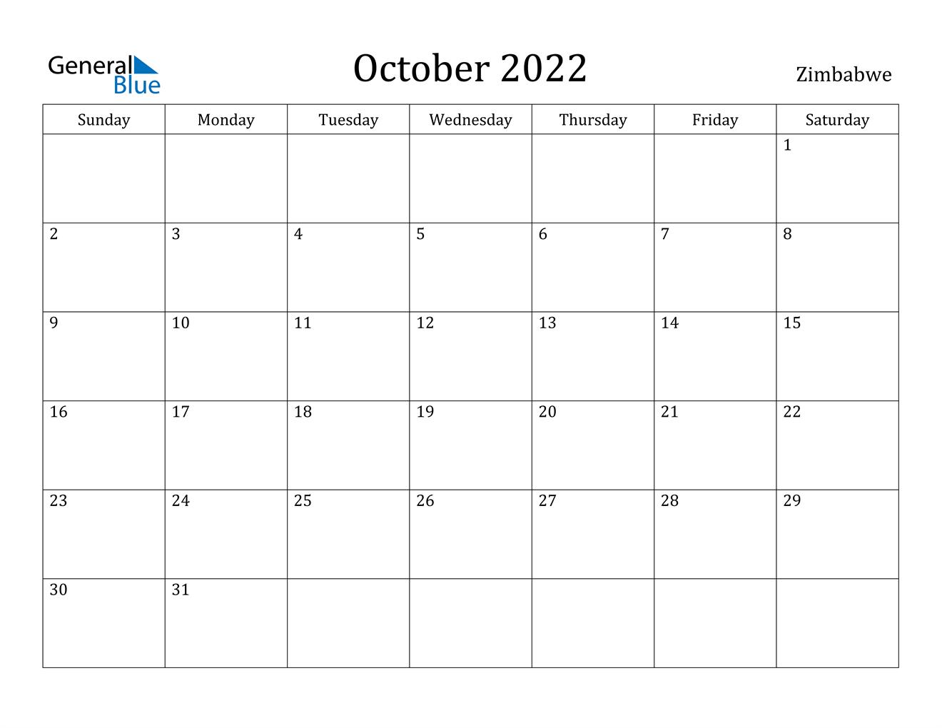 October 2022 Calendar.Zimbabwe October 2022 Calendar With Holidays