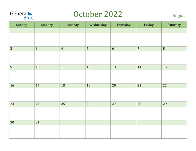 Image of October 2022 Cool and Relaxing Green Calendar Calendar