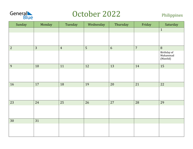 October 2022 Calendar with Philippines Holidays