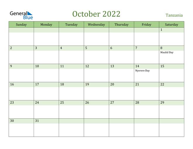 Image of October 2022 Cool and Relaxing Green Calendar Calendar