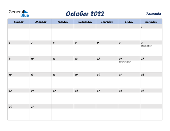 Image of October 2022 Italicized and Cool Blue, A Fun Calendar in PDF, Word and Excel Calendar