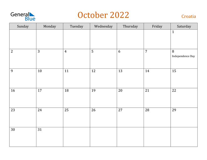 October 2022 Calendar Word.Croatia October 2022 Calendar With Holidays