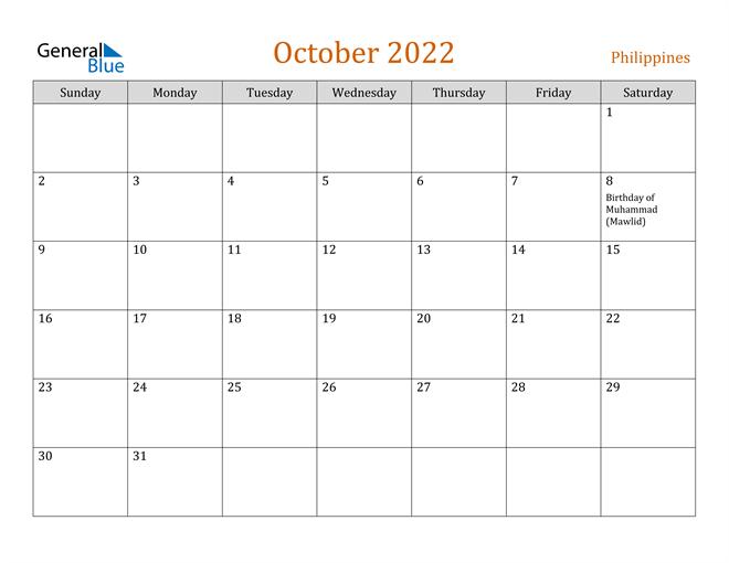 October 2022 Holiday Calendar