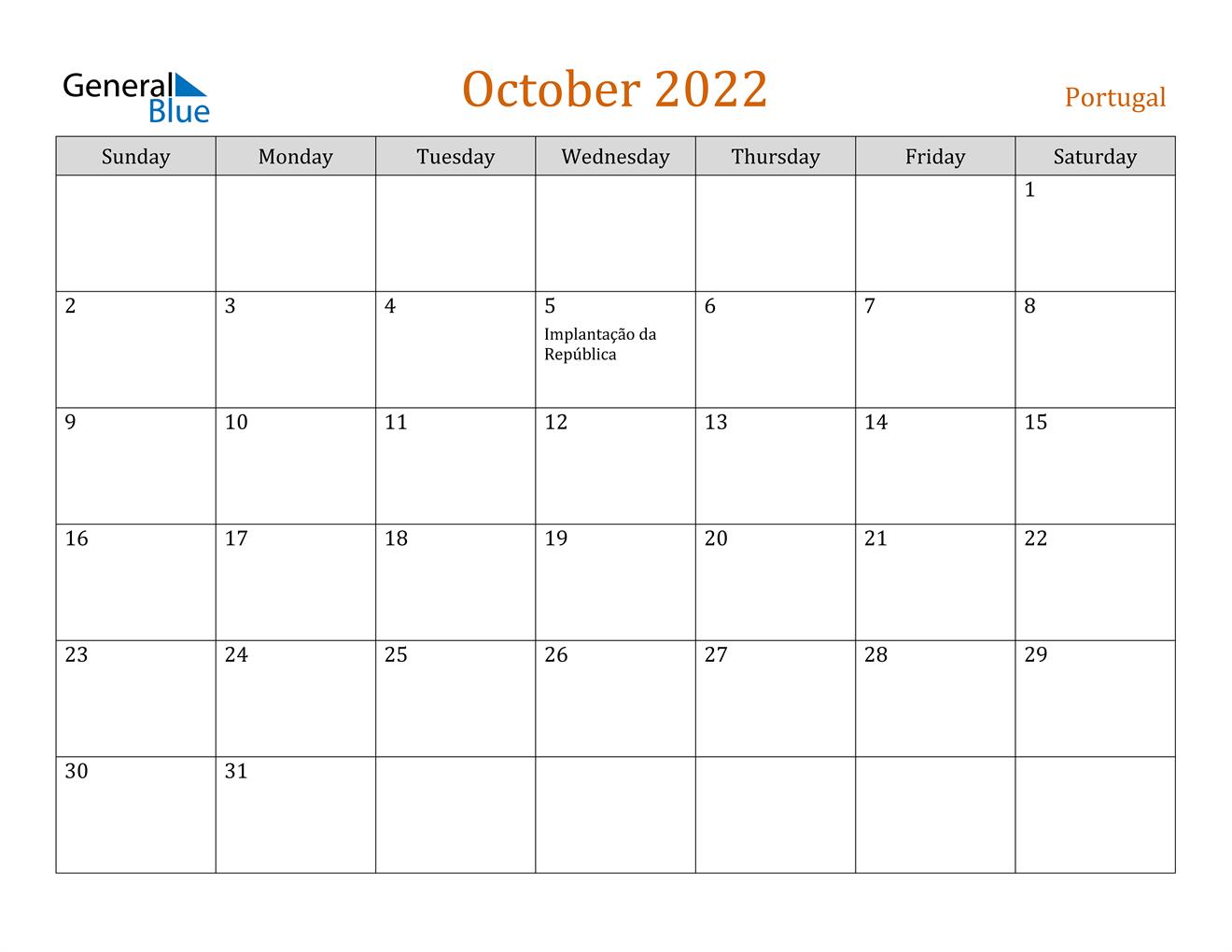October 2022 Calendar - Portugal