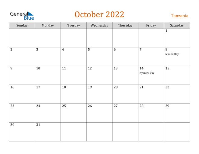 Image of October 2022 Contemporary Orange PDF, Word and Excel Calendar Calendar